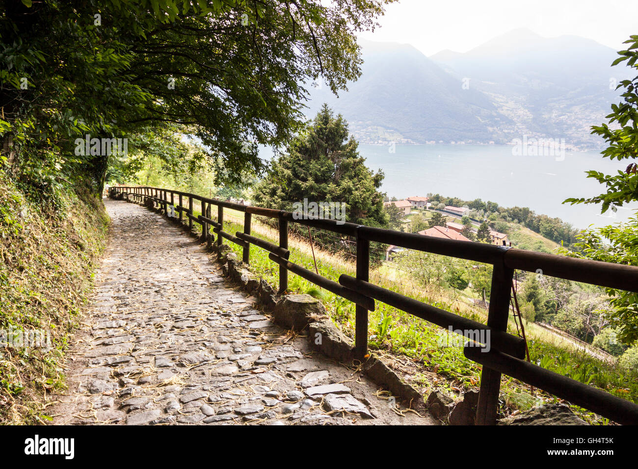 Typical street of Monte isola. Sulzano, Lombardy. Italy - Stock Image