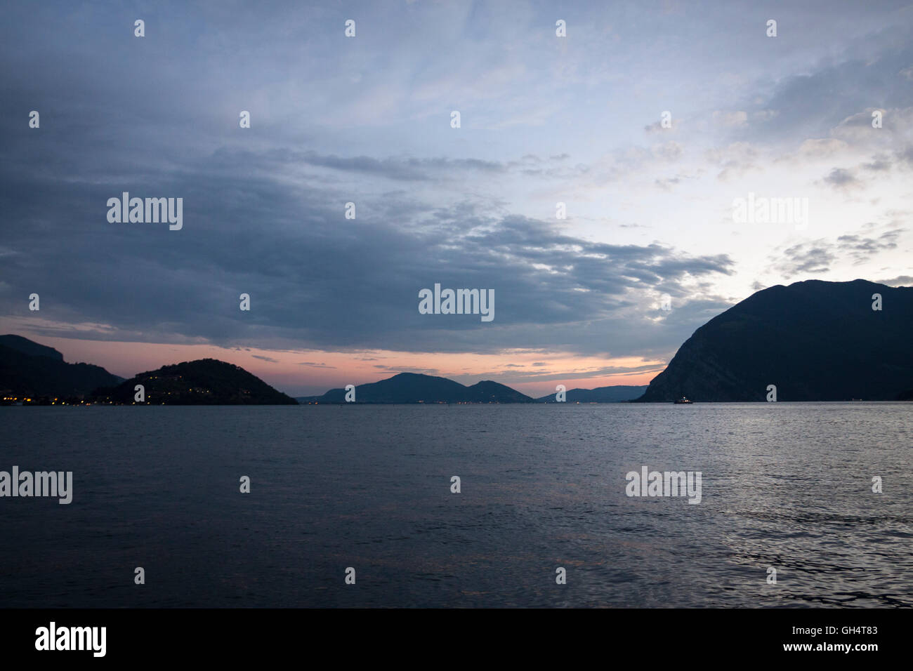 Summer sunset over Lake Iseo. Sulzano, Lombardy. Italy - Stock Image