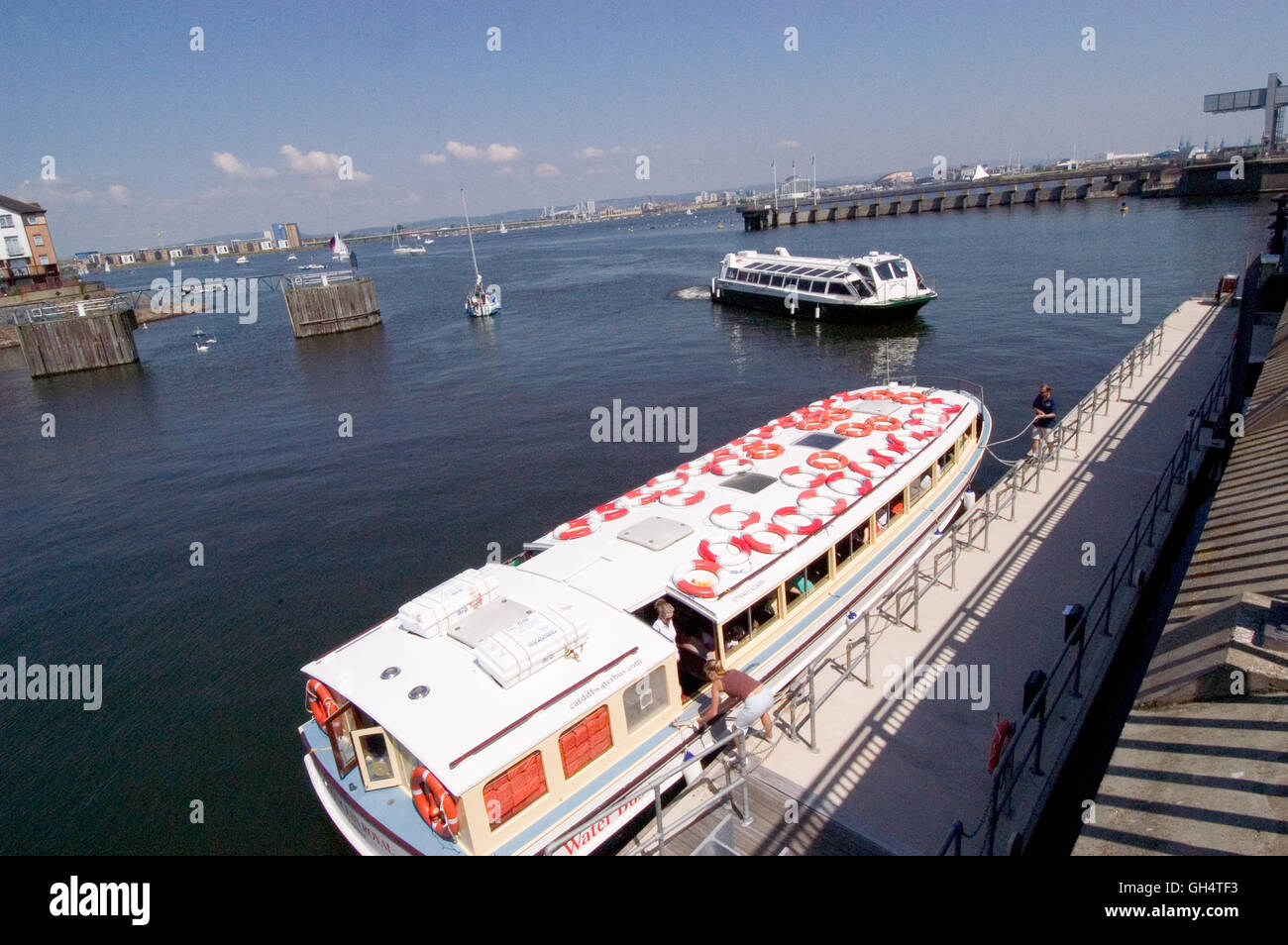Waterbus Stop at The Penarth Haven end of Cardiff Bay Barrage. - Stock Image
