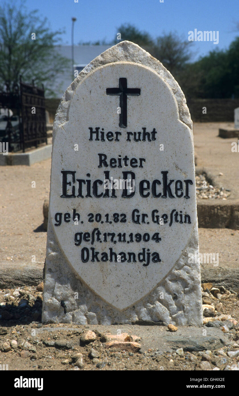 geography / travel, Namibia, gravestone for person killed in action German soldiers on the cemetery of Okahandja, - Stock Image