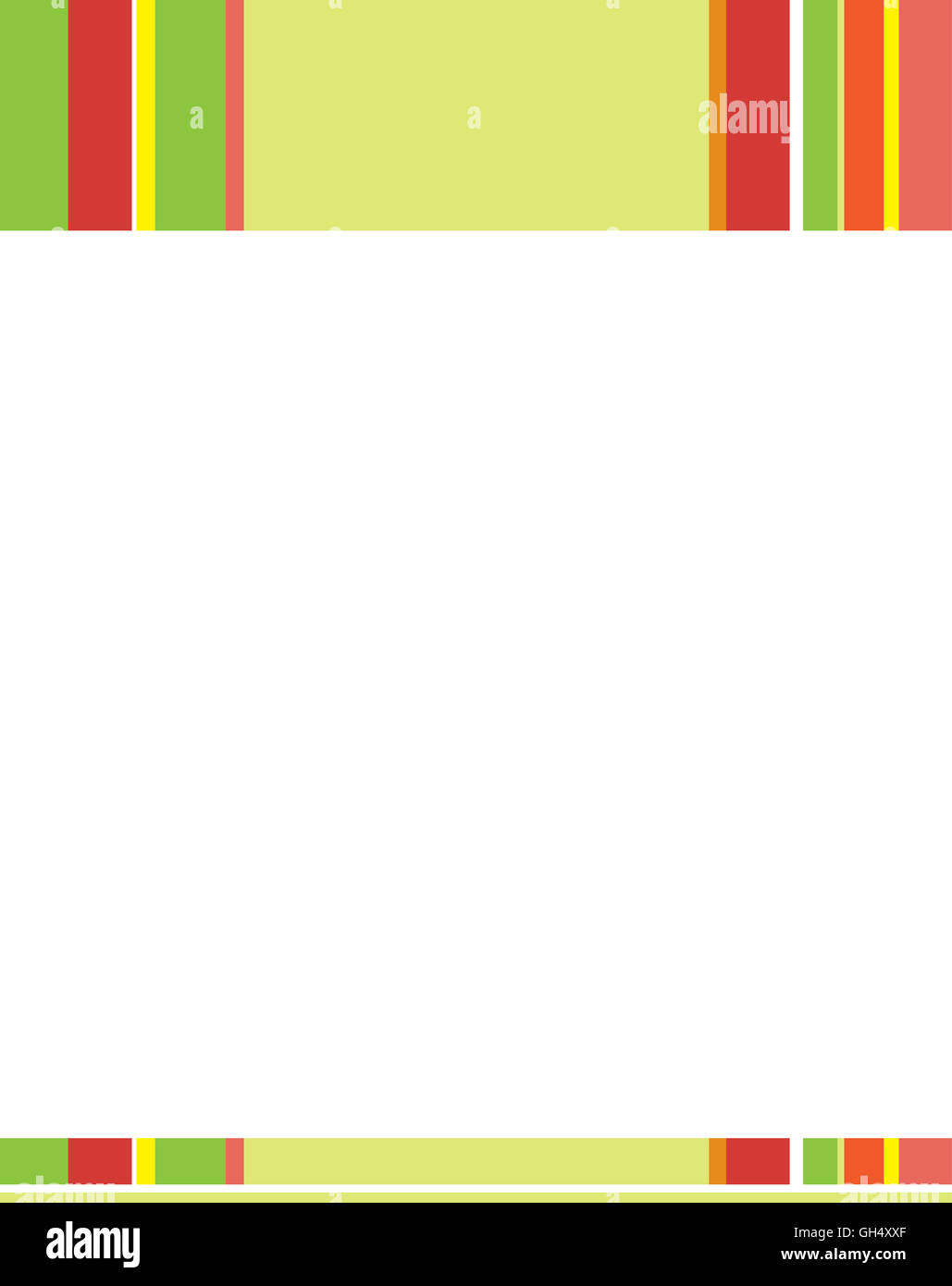 Green Yellow Red Striped Letterhead Template - Stock Image