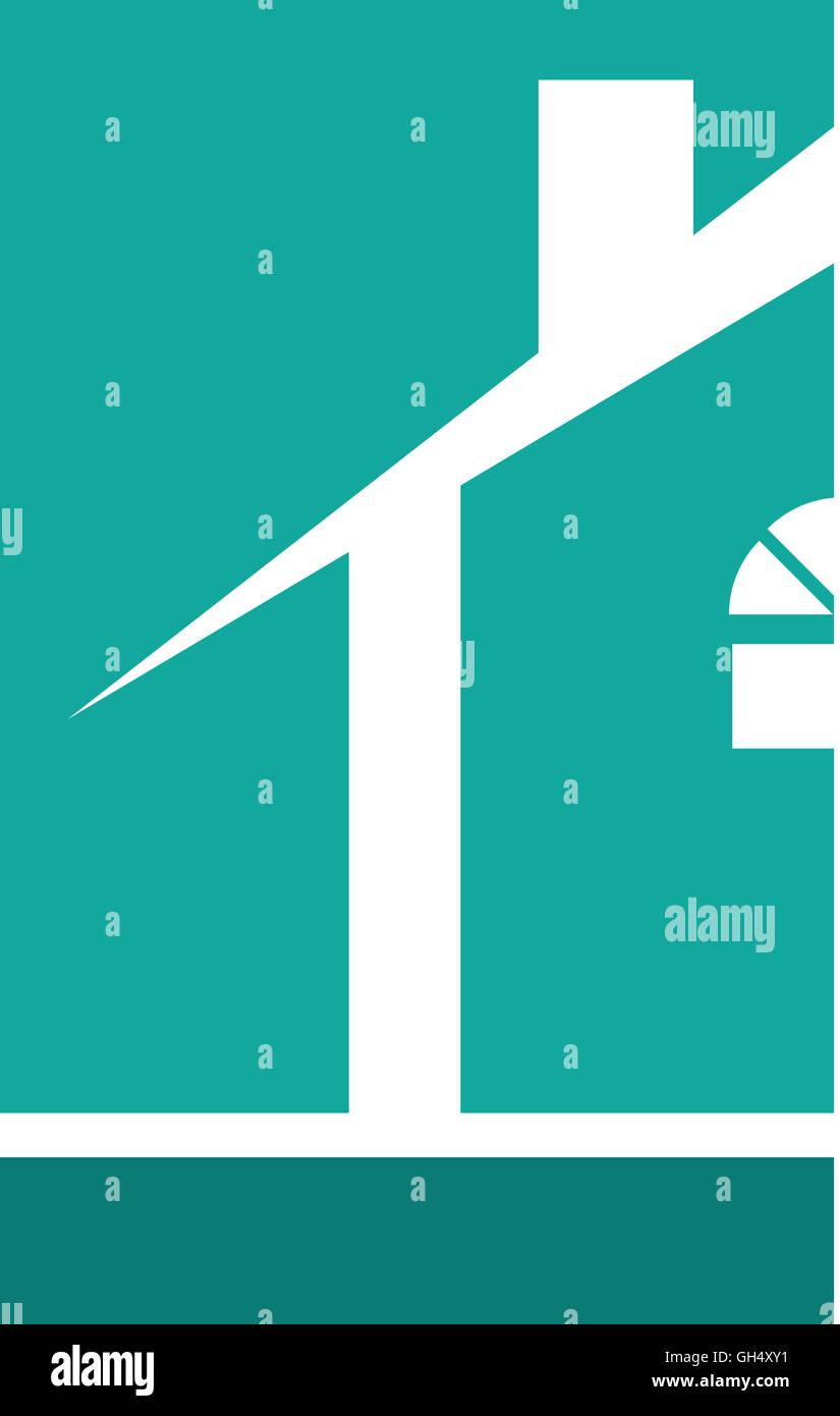 Teal Blue House Real Estate Logo - Stock Image