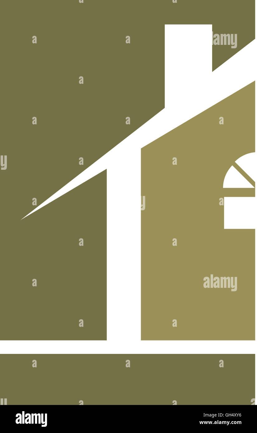 Sage Green House Real Estate Logo - Stock Image