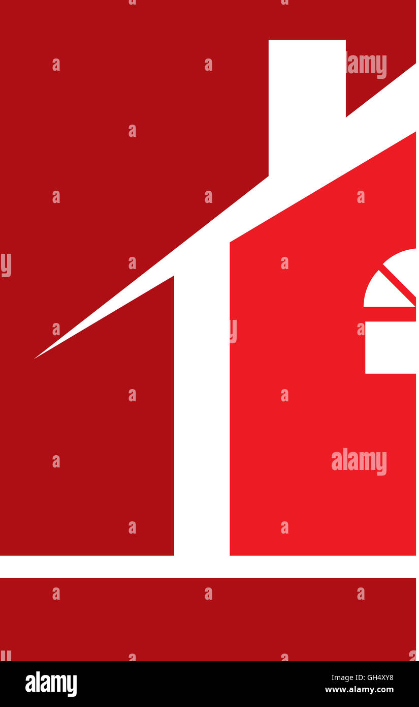 Red House Real Estate Logo - Stock Image