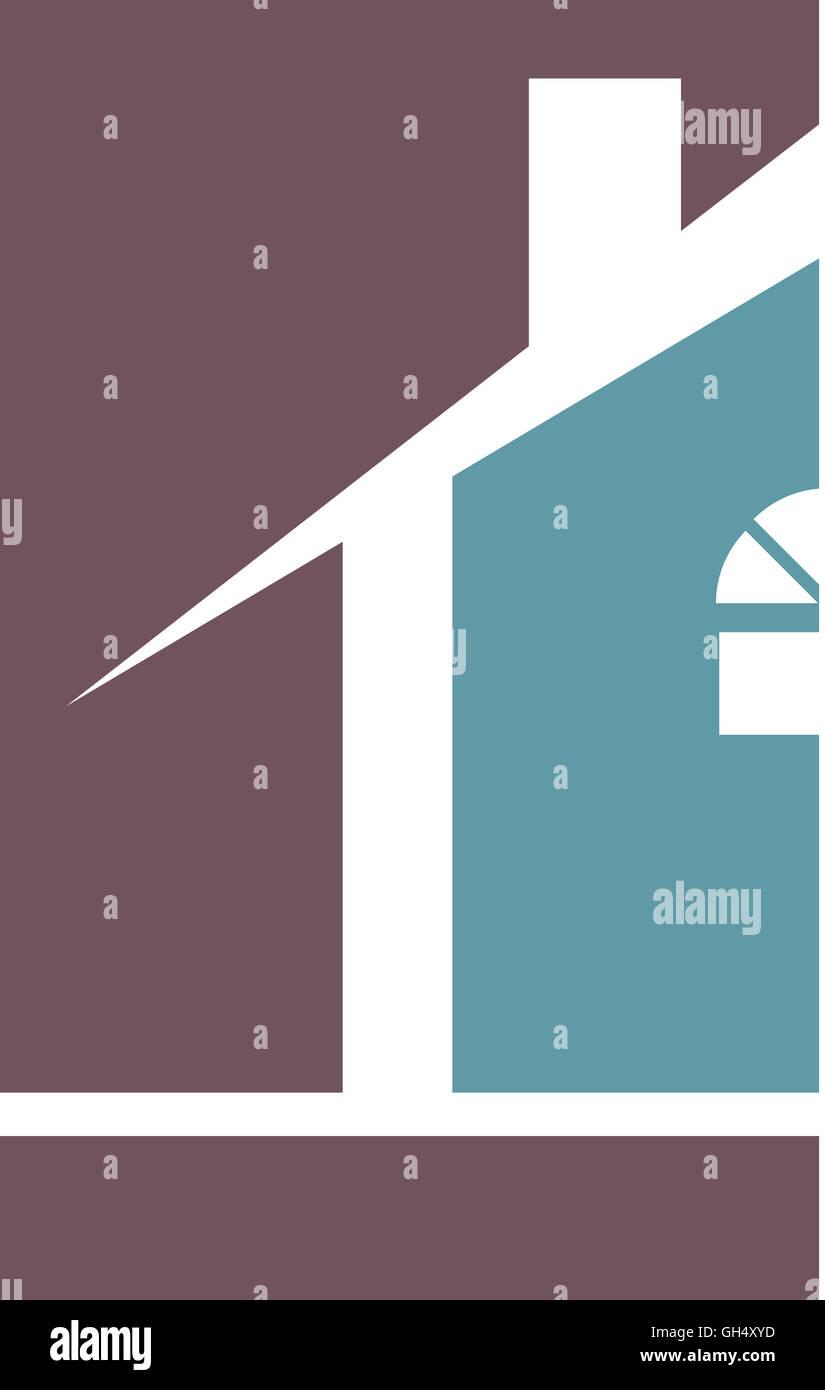 Purple Blue House Real Estate Logo - Stock Image