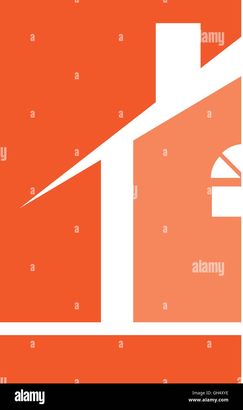 Orange House Real Estate Logo - Stock Image