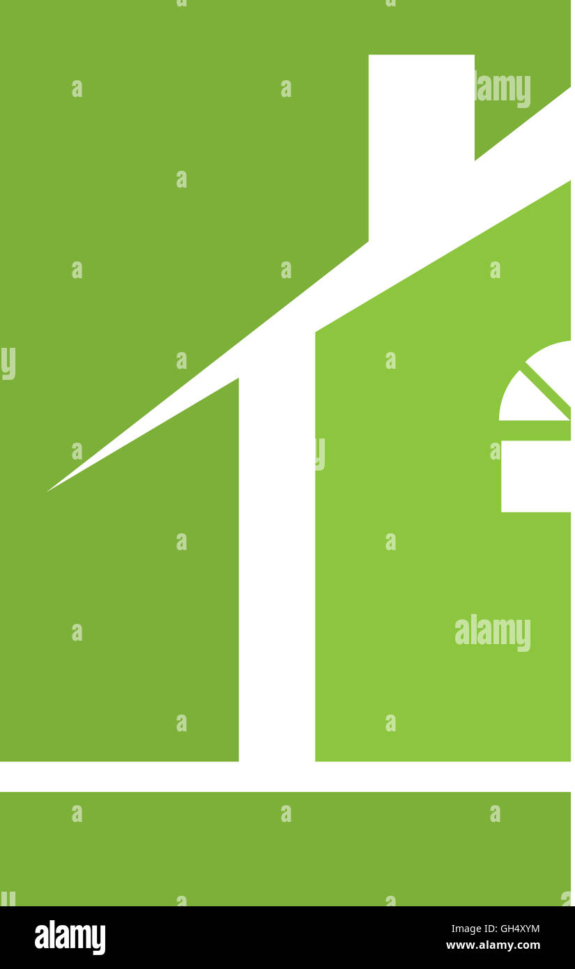 Green House Real Estate Logo - Stock Image