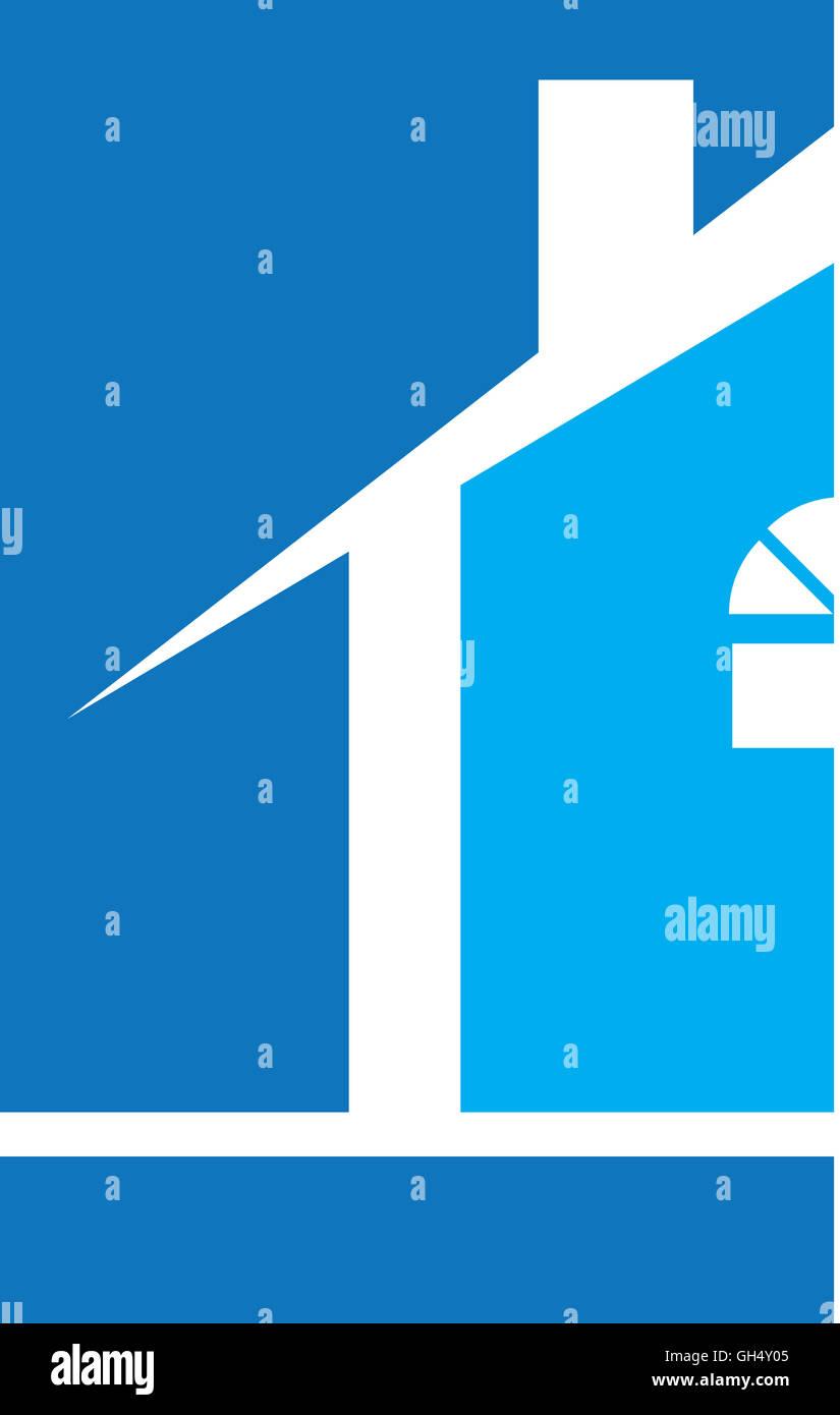 House Real Estate Logo Blue - Stock Image