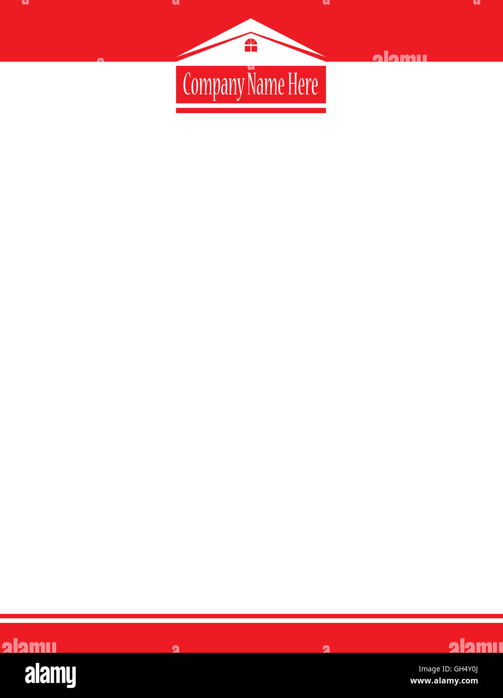 Red House Real Estate Logo Letterhead Template - Stock Image