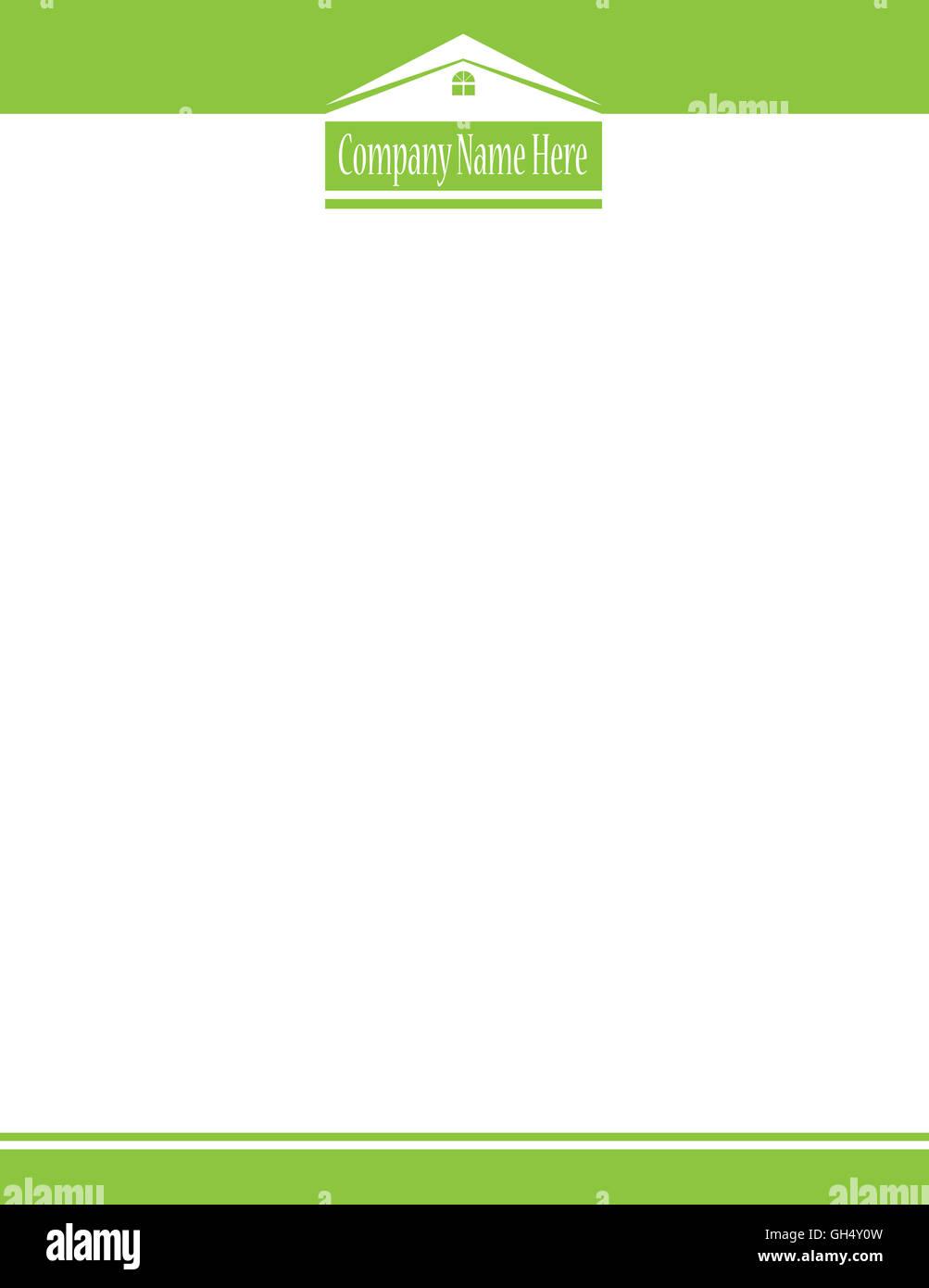 Green House Real Estate Logo Letterhead Template - Stock Image