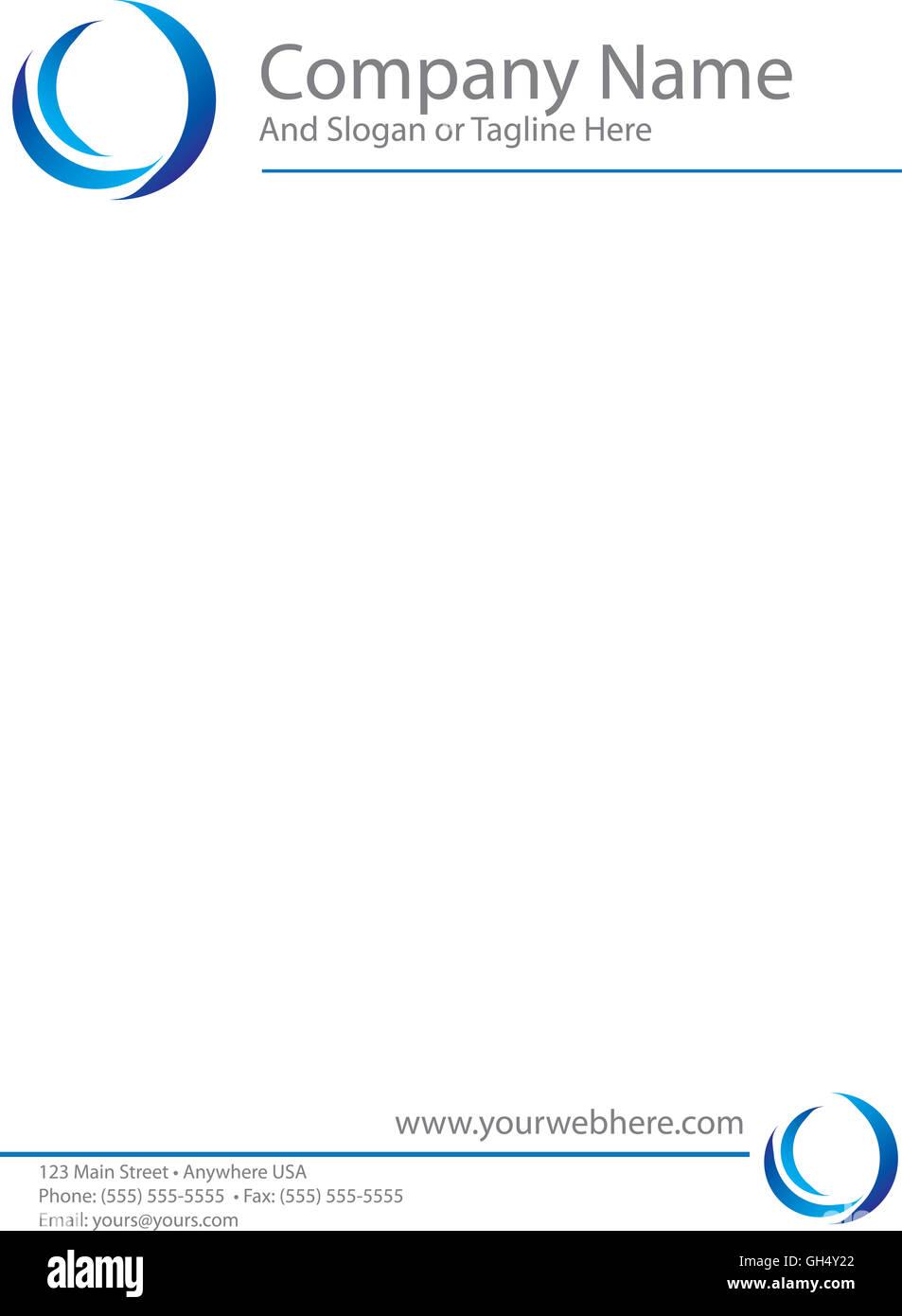 Blue Logo Letterhead Template - Stock Image
