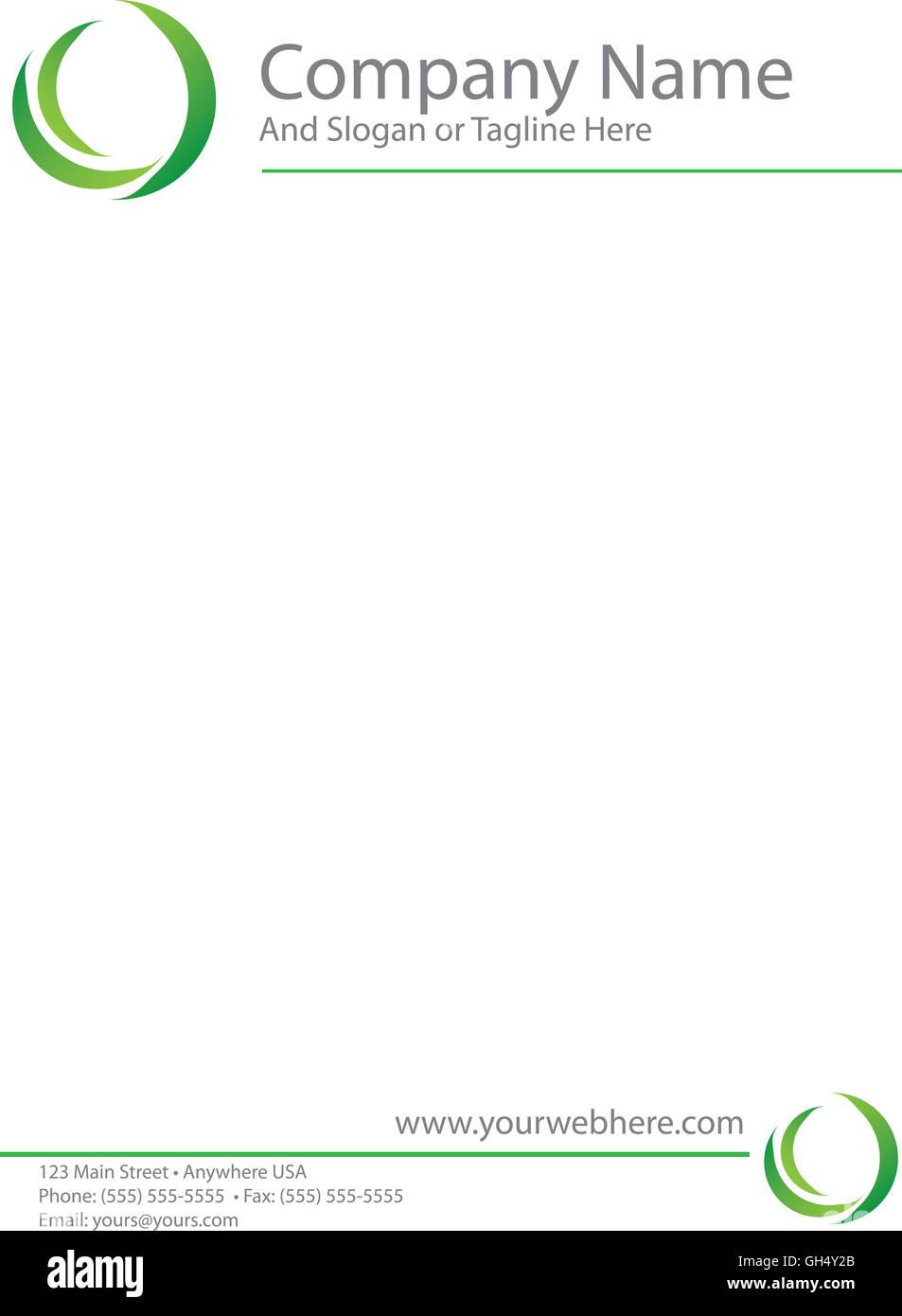 Green Logo Letterhead Template - Stock Image