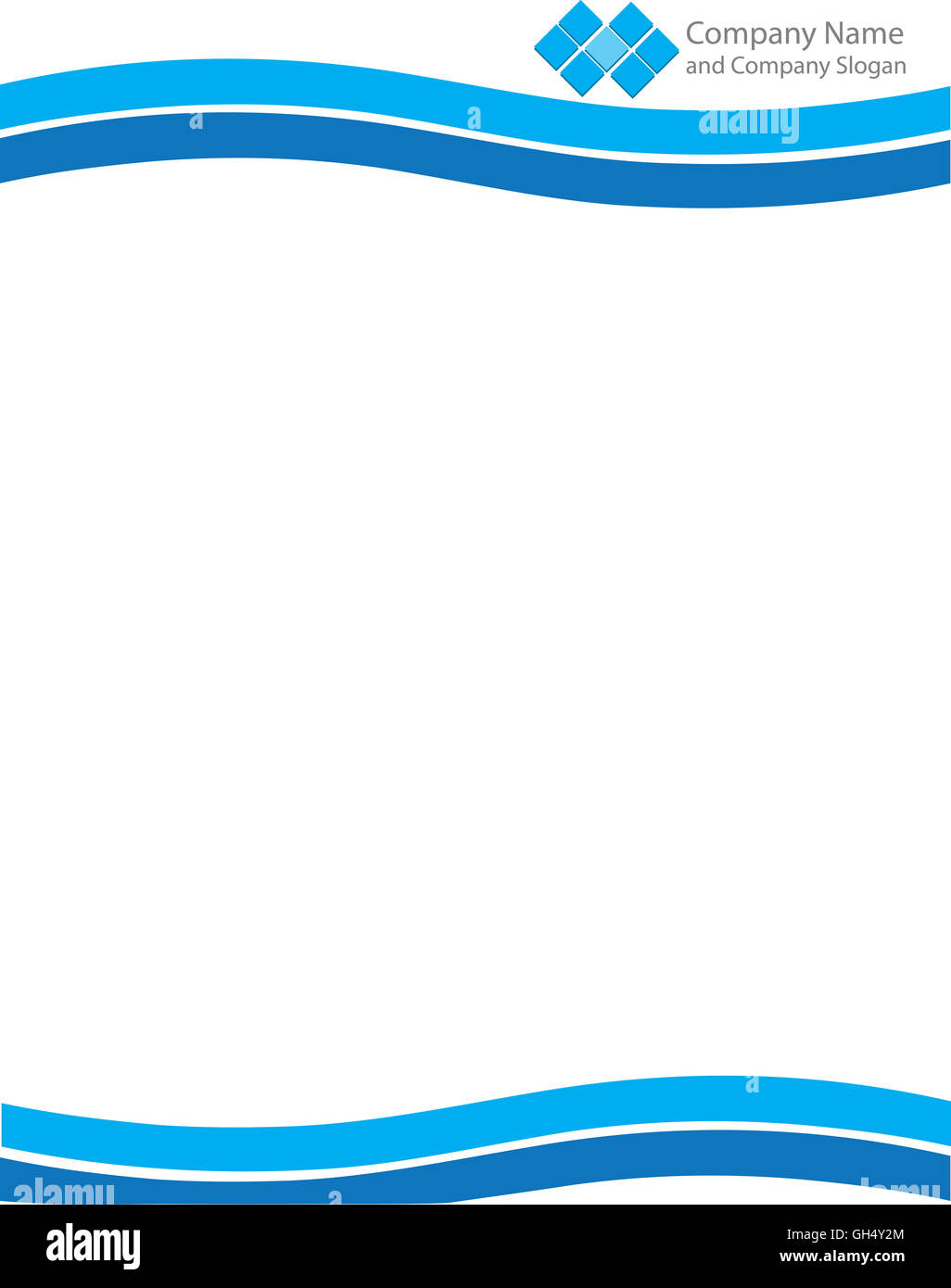 Blue Wave Letterhead Template with Logo - Stock Image