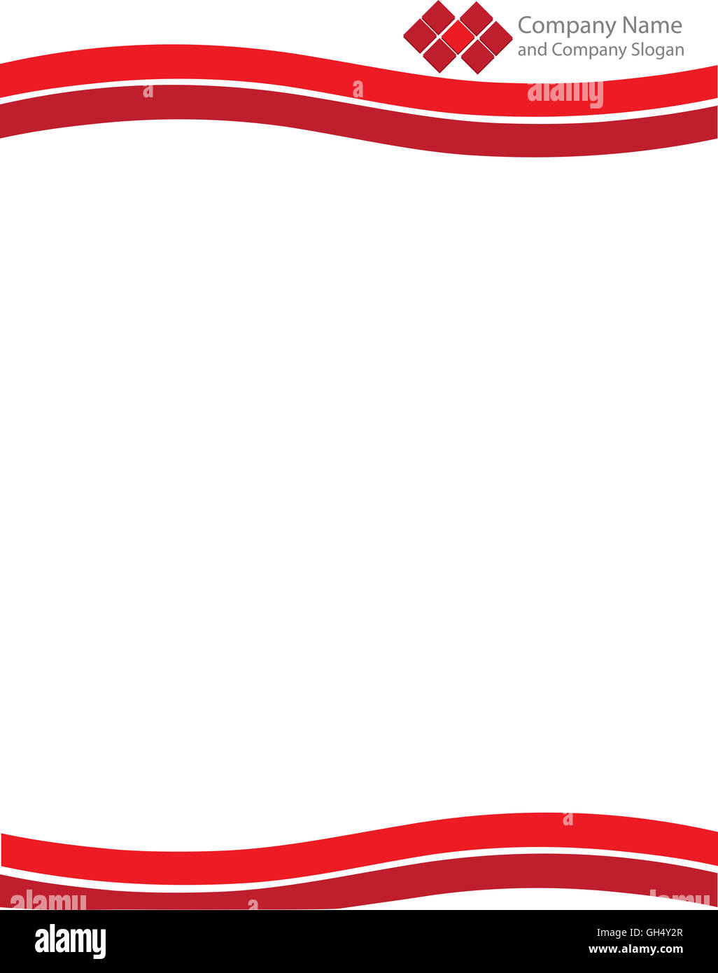 Red Wave Letterhead Template with Logo - Stock Image