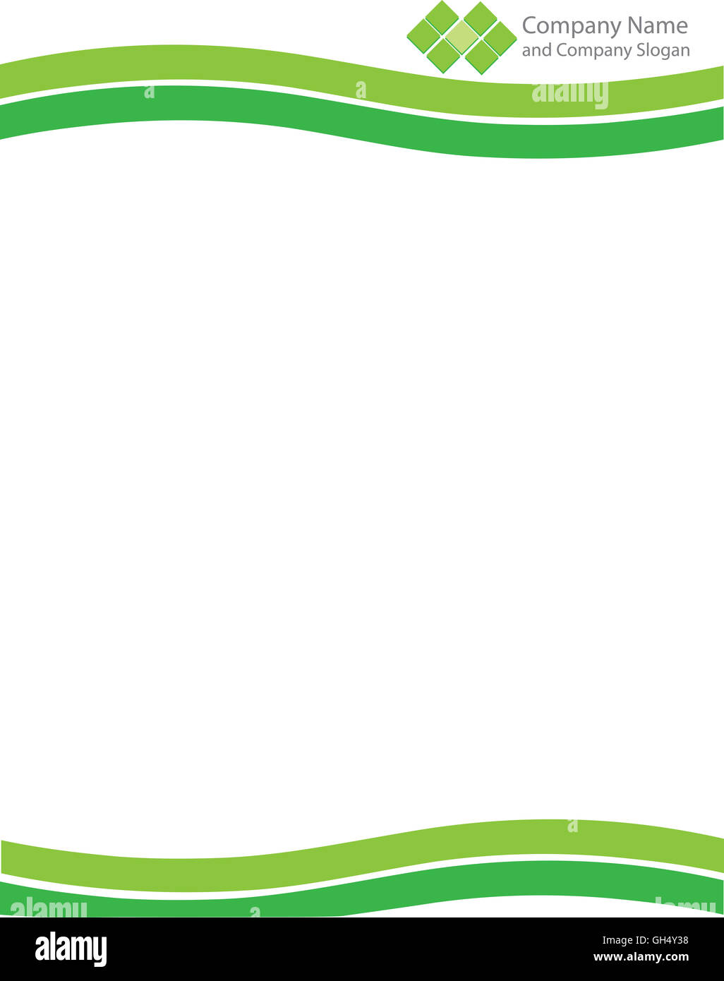 Green Wave Letterhead Template with Logo - Stock Image