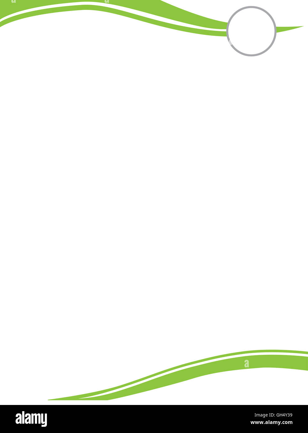 Swirl Letterhead Template with Circle for Logo Green - Stock Image