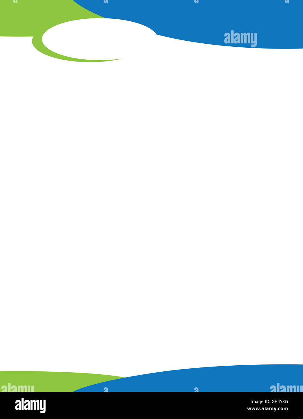 Swirl Letterhead Template for Logo Blue Green - Stock Image