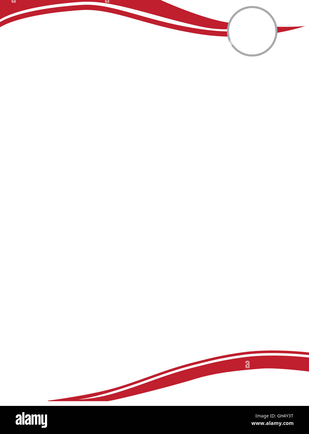 Red Swirl Letterhead Template with Circle for Logo - Stock Image