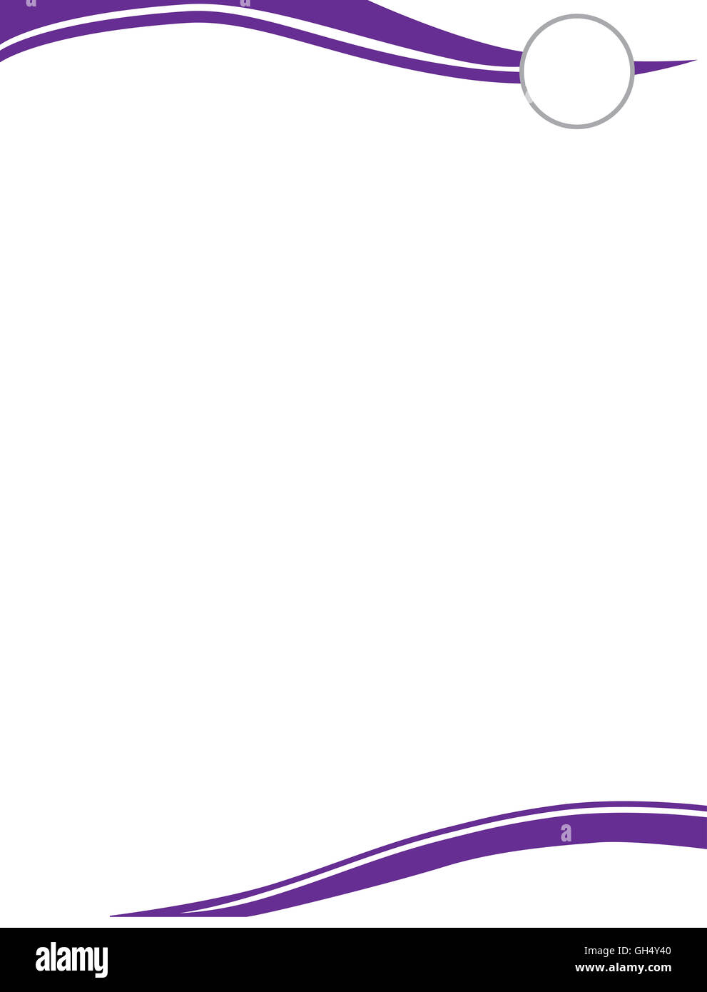 Purple Swirl Letterhead Template with Circle for Logo - Stock Image