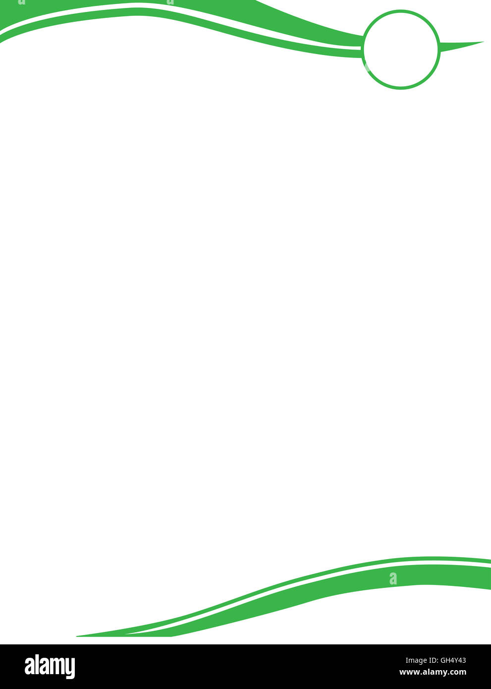 Green Swirl Letterhead Template with Circle for Logo - Stock Image