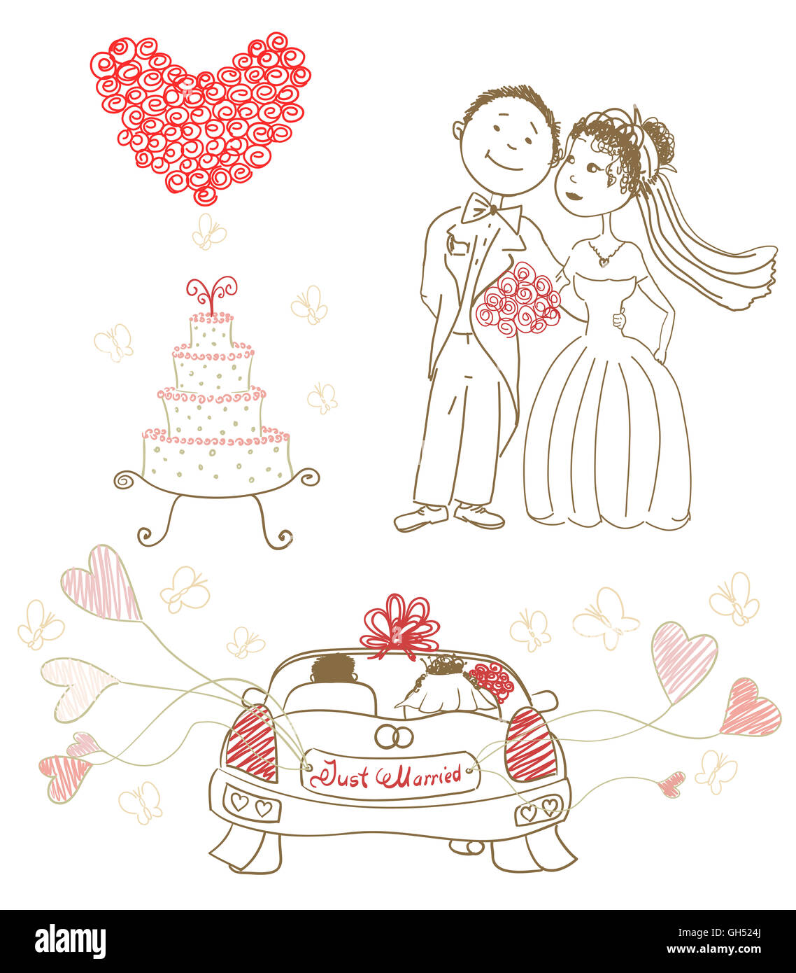 Wedding Cake With Butterflies Happy Bride And Groom Heart Made Of