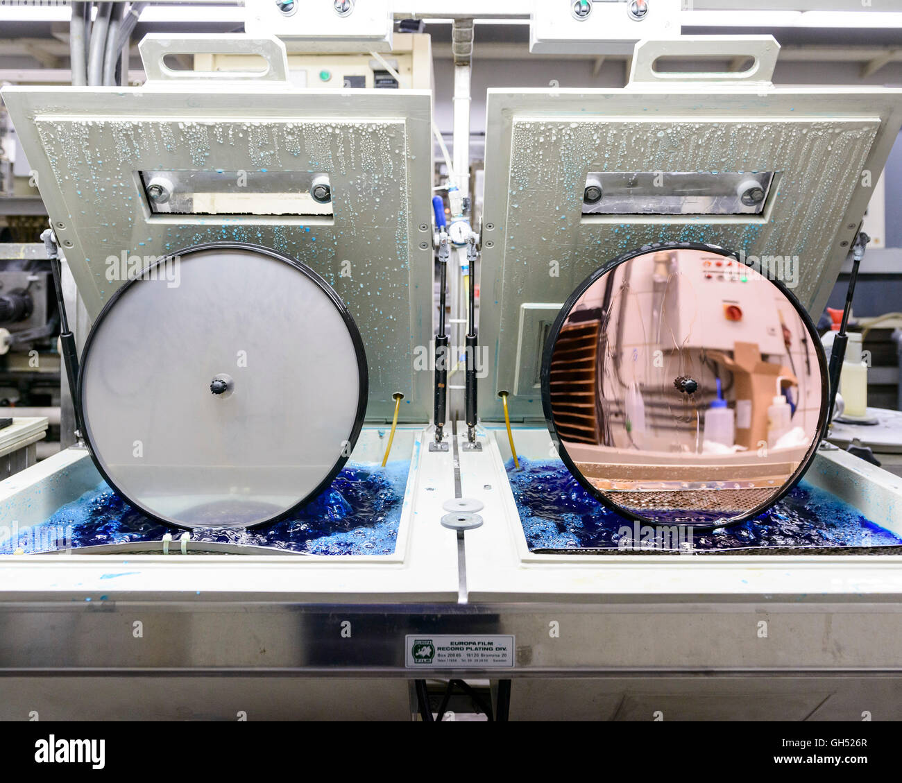 Making a negative of the master. Record Industry Vinyl Factory, Haarlem, Netherlands. Architect: -, 1958. Stock Photo