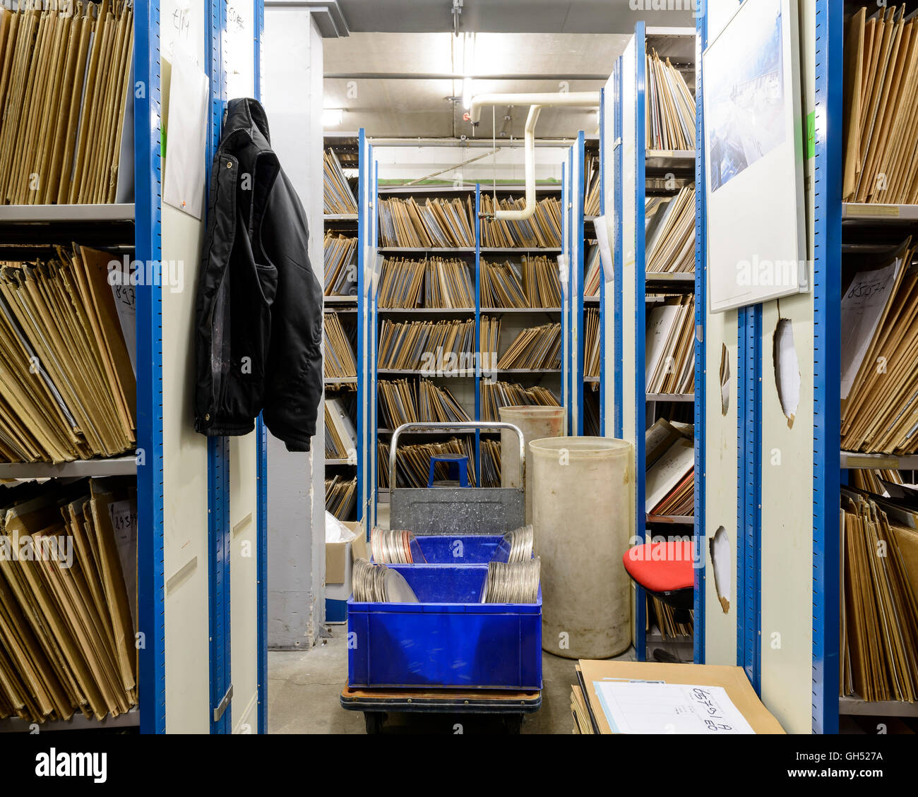 Some kind of archive. Record Industry Vinyl Factory, Haarlem, Netherlands. Architect: -, 1958. Stock Photo