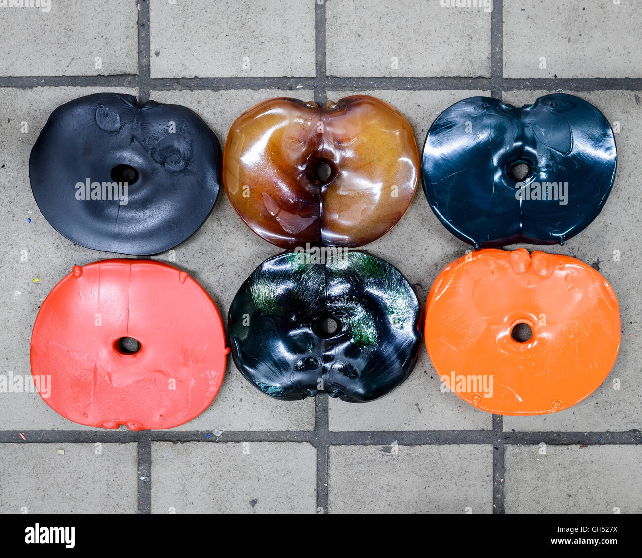 Coloured pucks before being pressed. Record Industry Vinyl Factory, Haarlem, Netherlands. Architect: -, 1958. Stock Photo