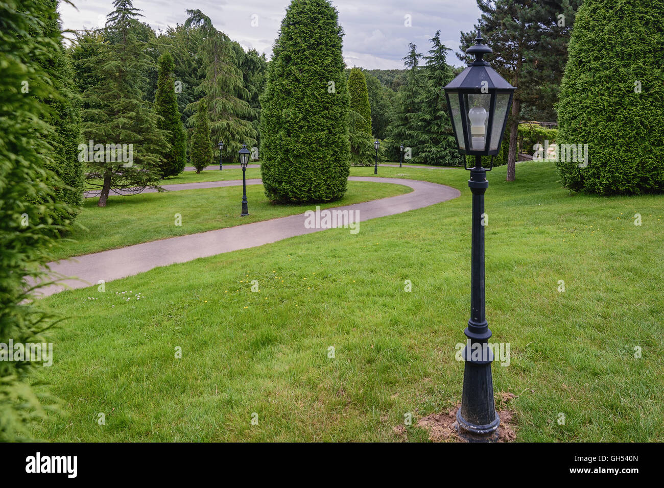 Winding path through the park with conifers with lanterns. - Stock Image