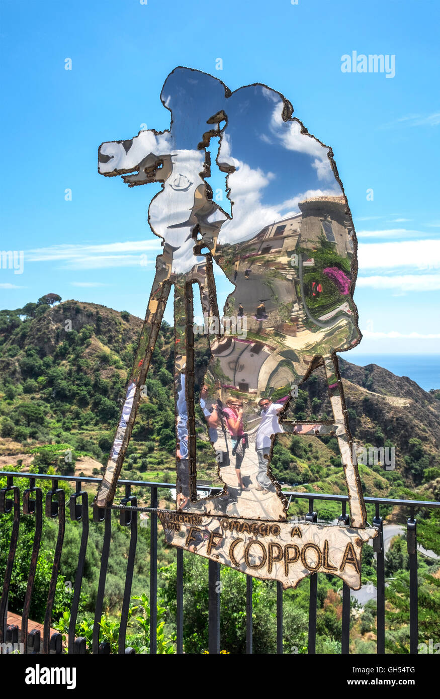 Savoca, Sicily, Francis Ford Coppola steel silhouette sculpture created by local artist Nino Ucchino. - Stock Image