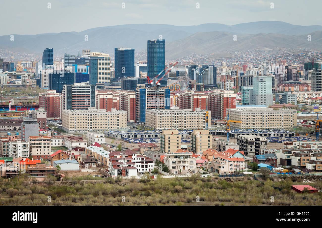 View of a city, Ulan Bator, Mongolia - Stock Image
