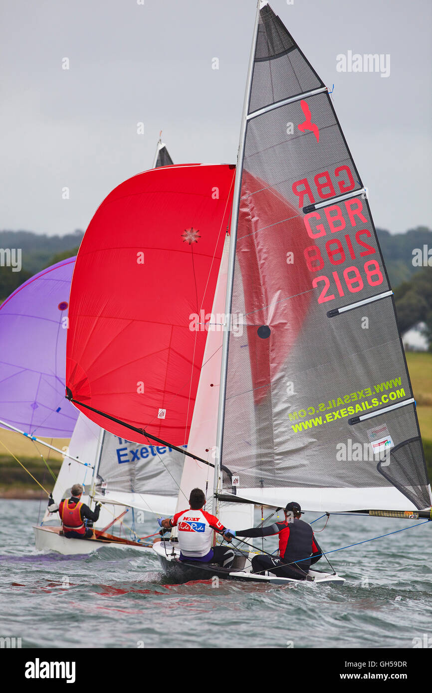 Competitive sailing dinghy racing, in the estuary of the River Exe, south coast of Devon, southwest England, Great - Stock Image