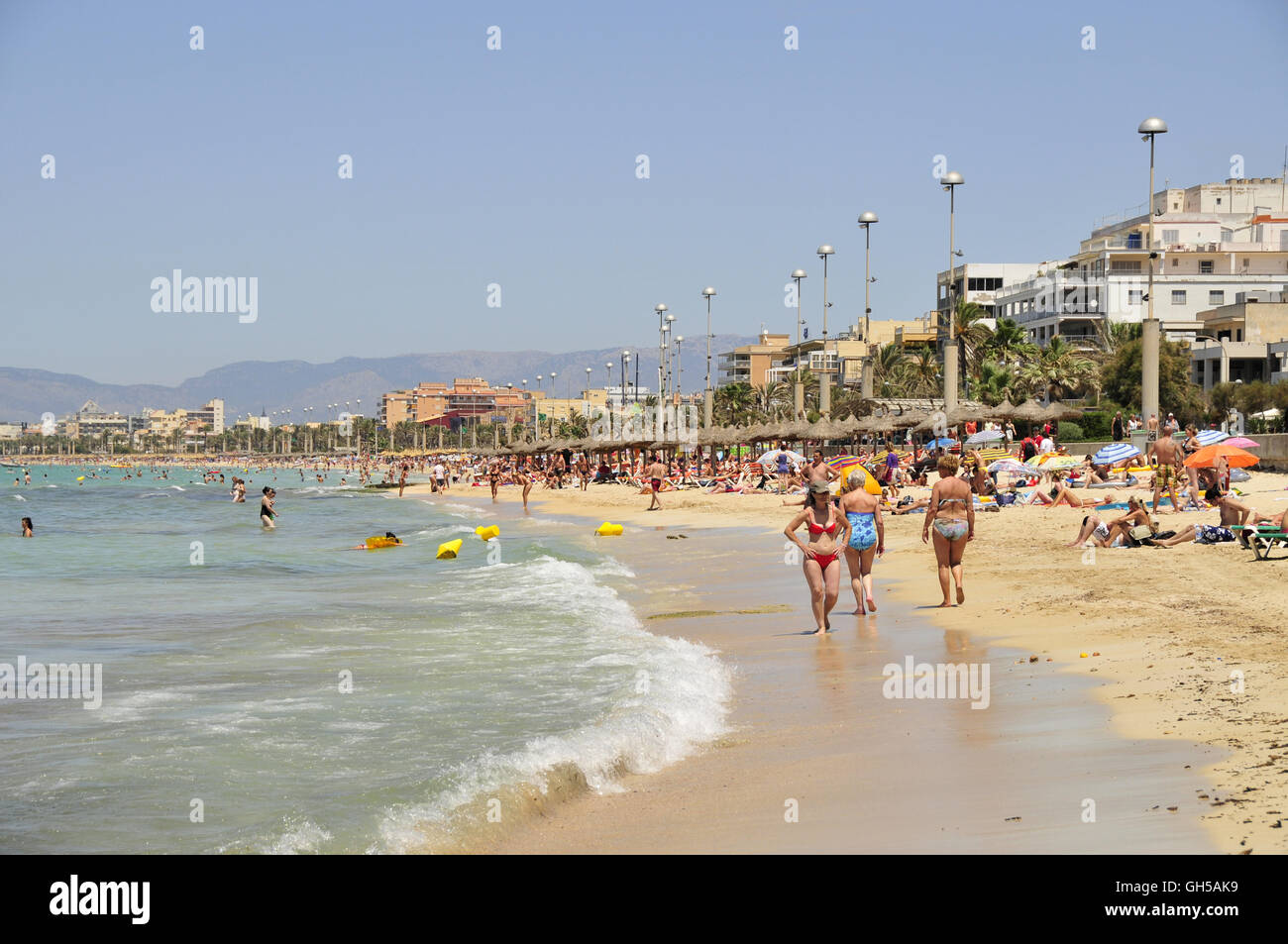 geography / travel, Spain, bather in El Arenal at the playa de Palma, Majorca, Balearics, Additional-Rights-Clearance - Stock Image
