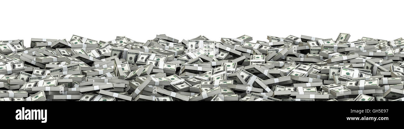 Panorama stacks dollars / 3D illustration of panoramic stacks of hundred dollar bills - Stock Image
