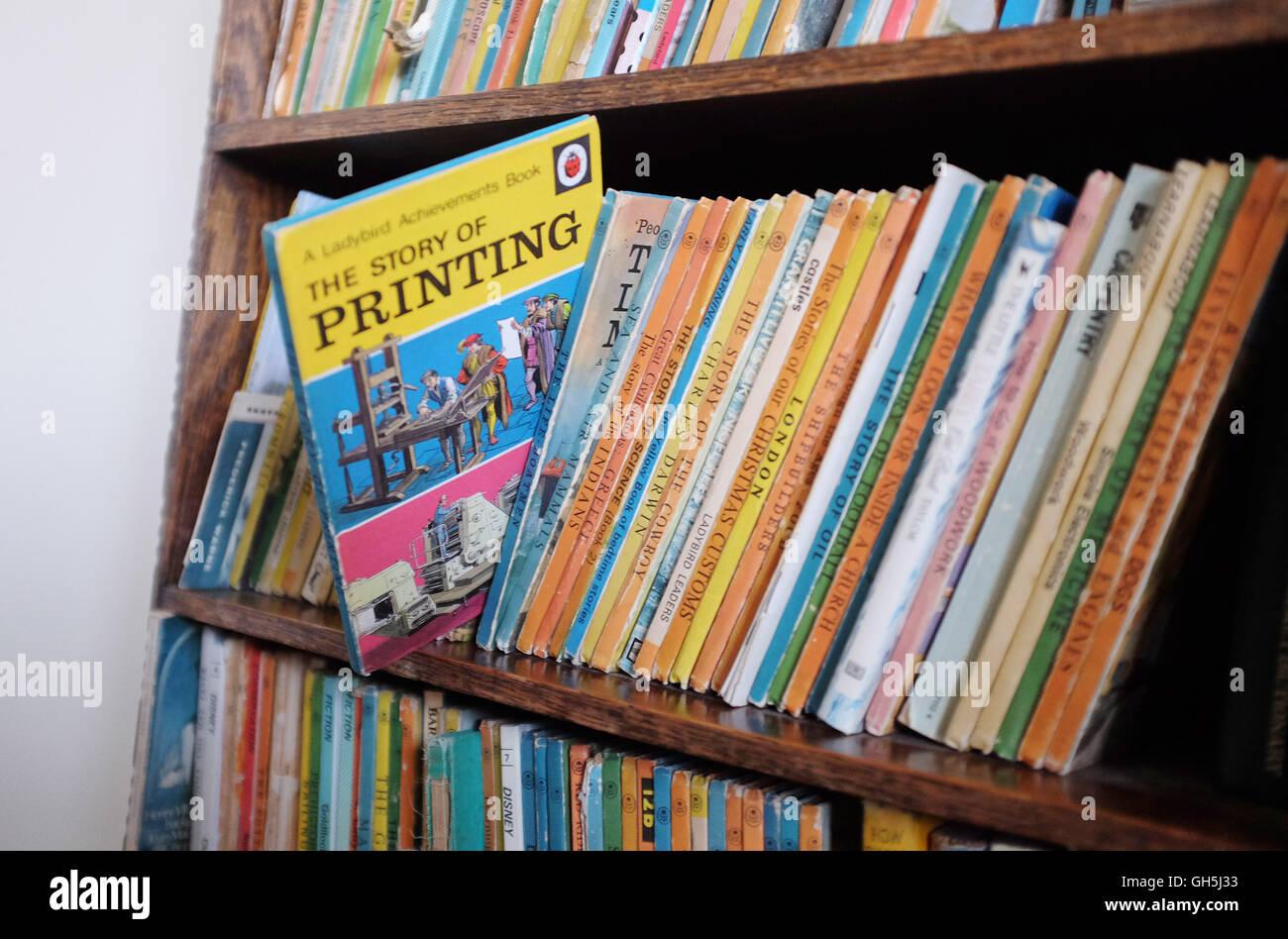 Bookshelf Full Of Ladybird Books For Children