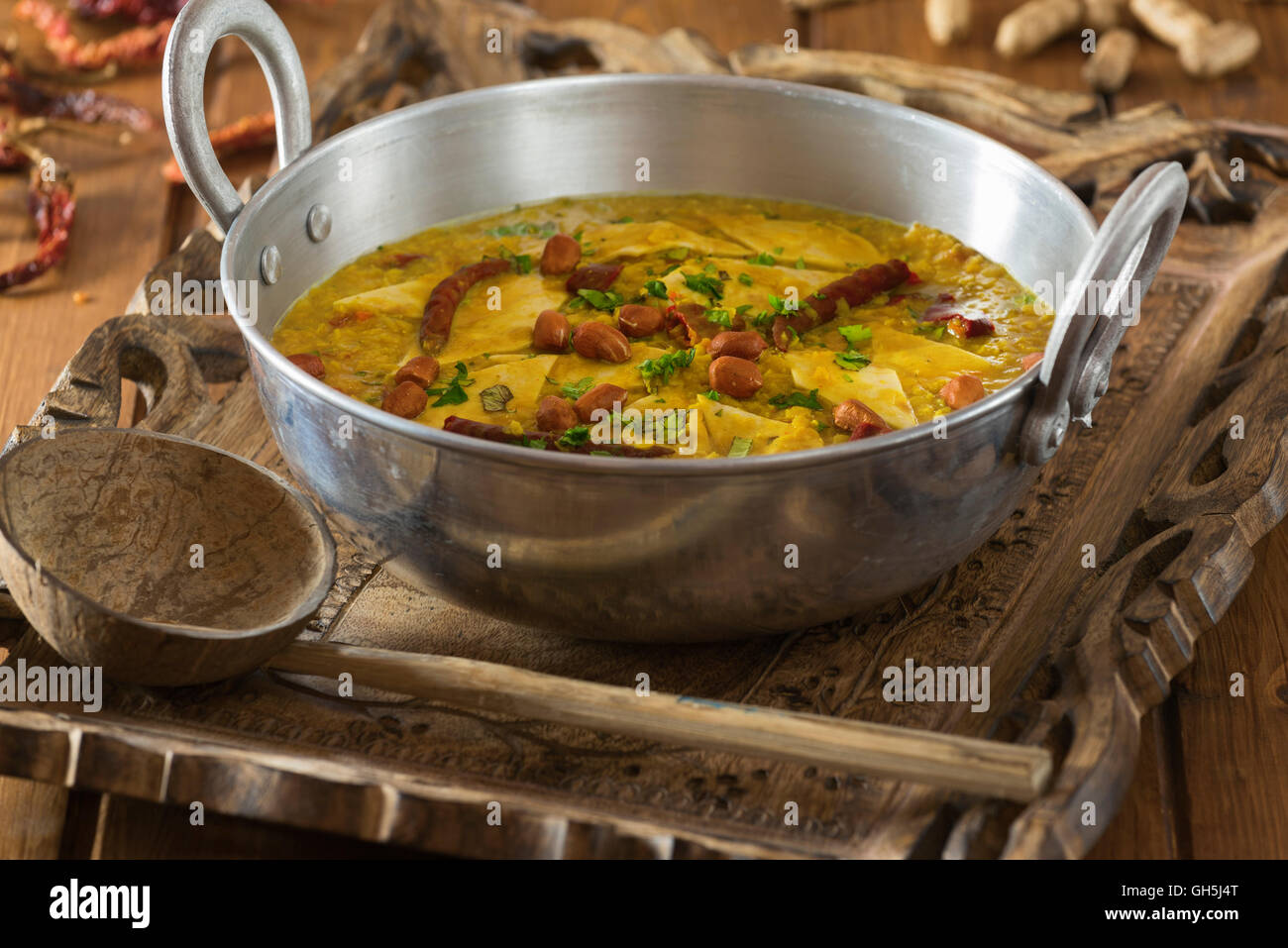Dal Dhokli. Gujarati lentil stew. India Food Stock Photo