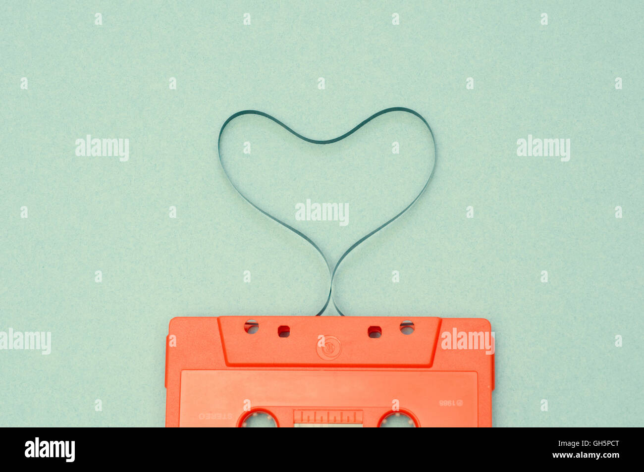 Heart shaped audio tape - Stock Image