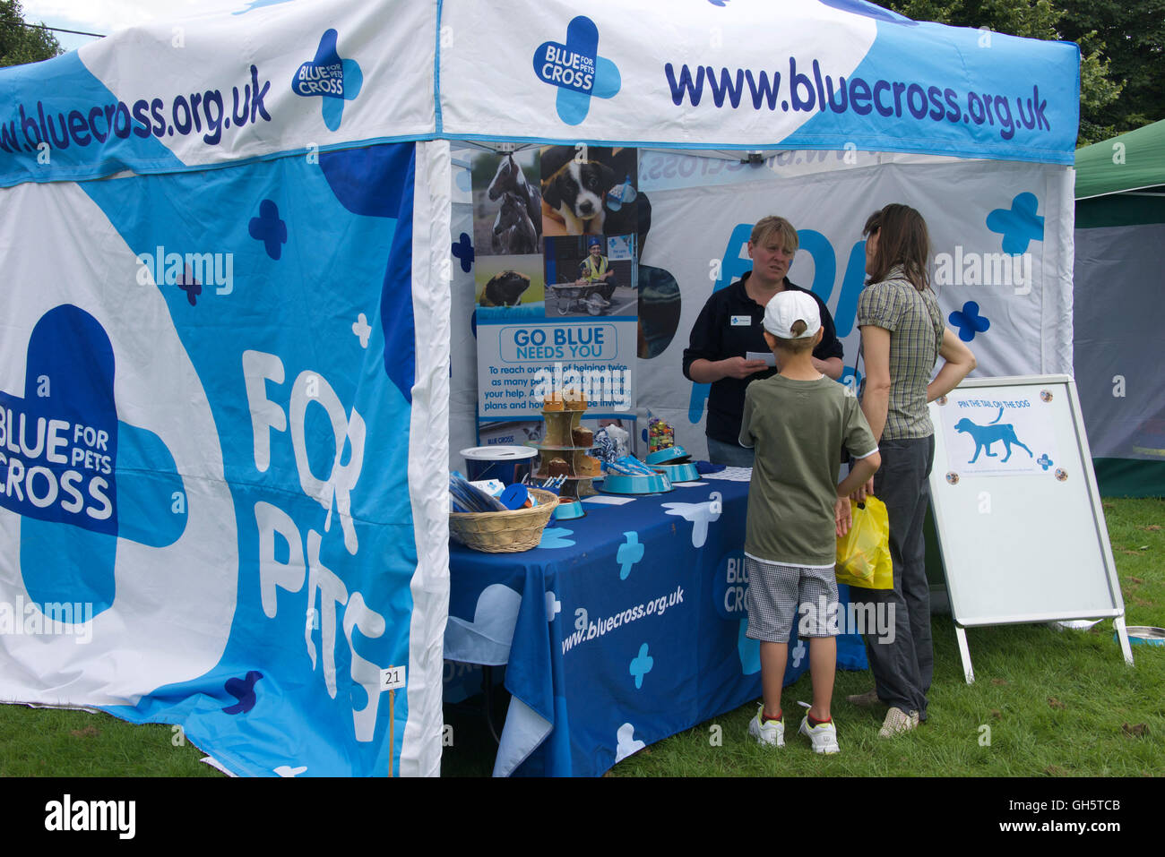 Tent at a pets' charity event, Oxfordshire, UK - Stock Image