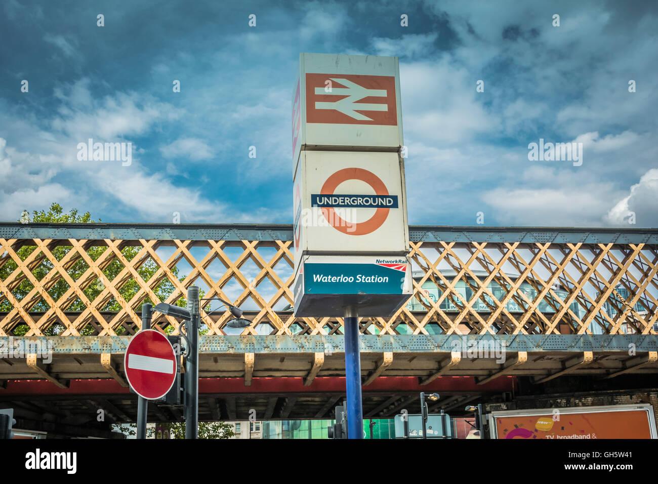 London, England, UK: Waterloo Station signage outside Waterloo Station - Stock Image