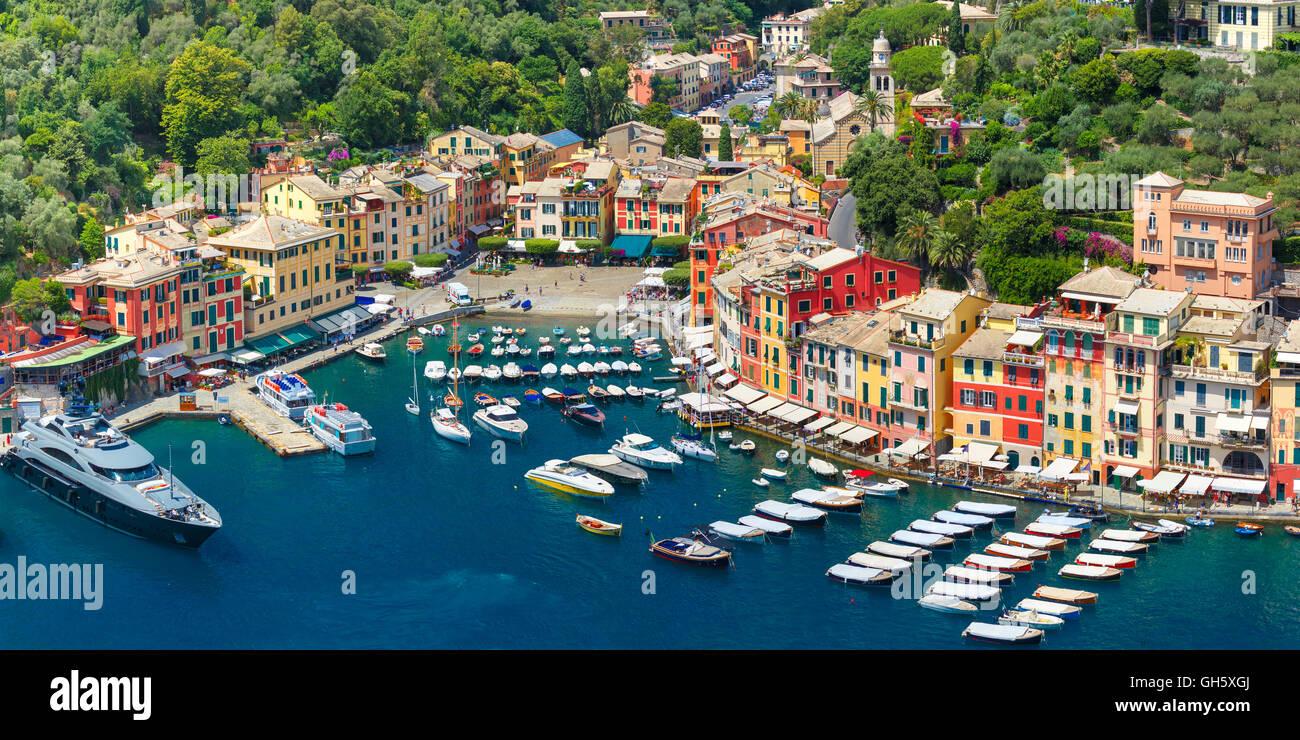 Panorama of Portofino, Italian Riviera, Liguria Stock Photo