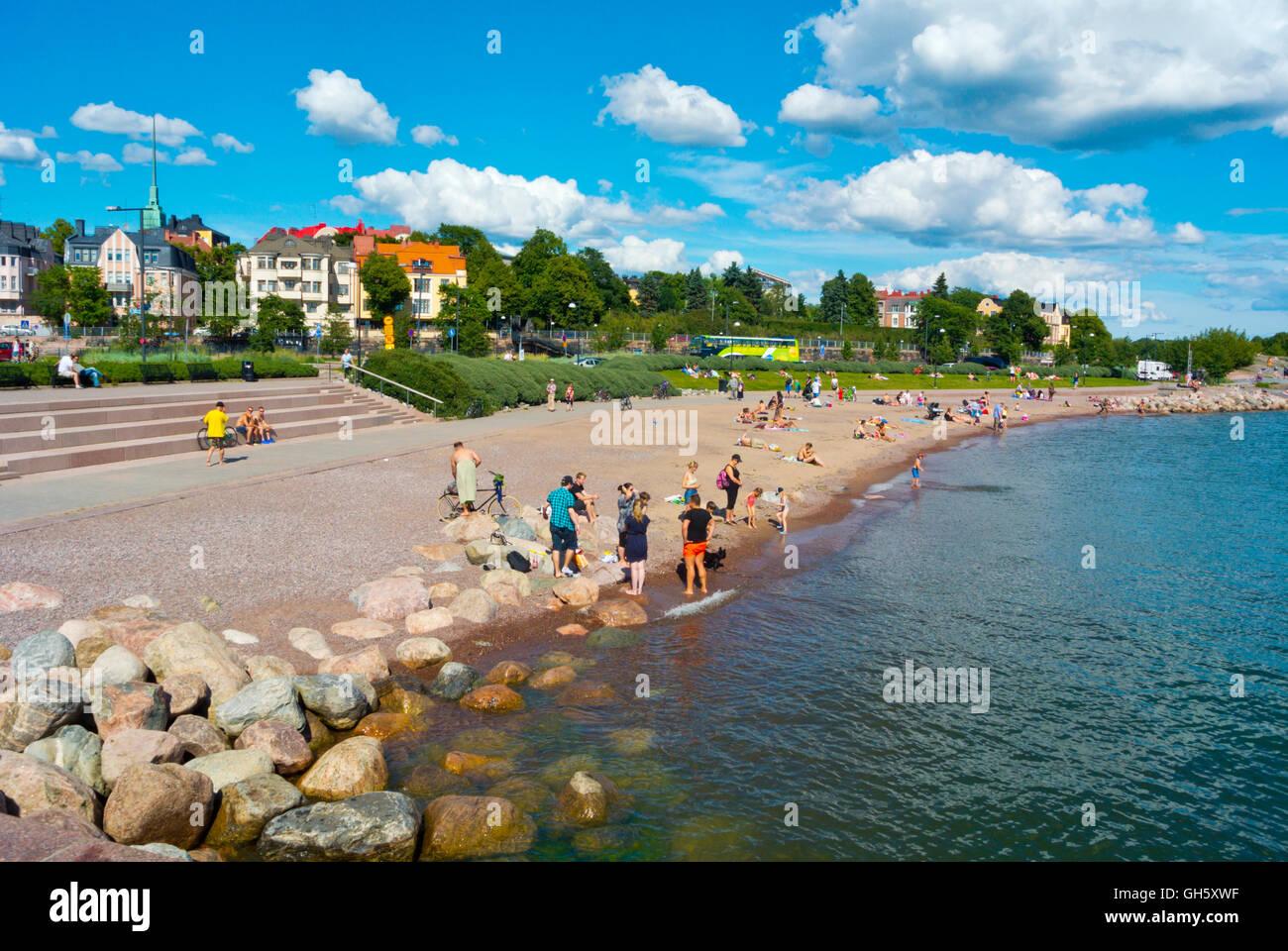 Eiranranta, new sand beach, Eira, Helsinki, Finland - Stock Image