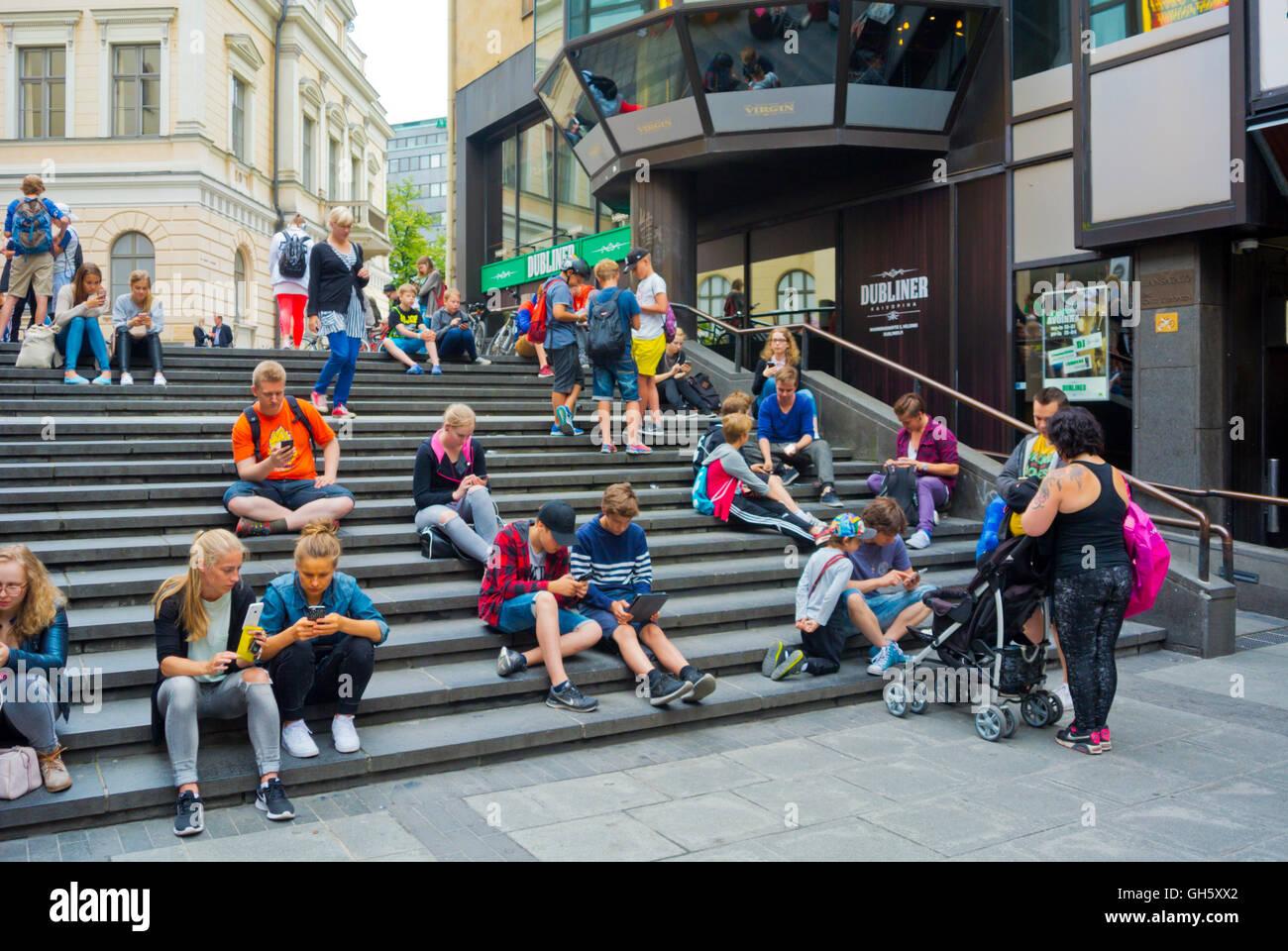 Pokemon Go, game stop, with pokemon shot, Kaivopiha, Helsinki, Finland - Stock Image