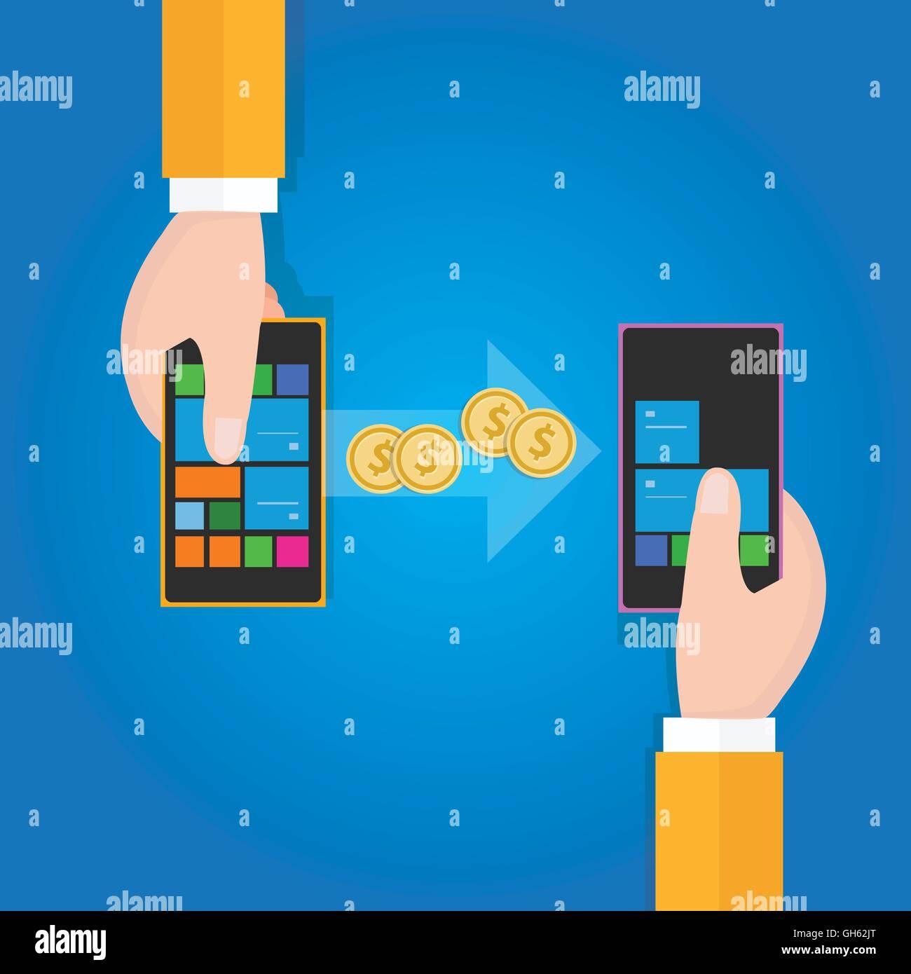transfer money from phone to mobile handphone - Stock Vector