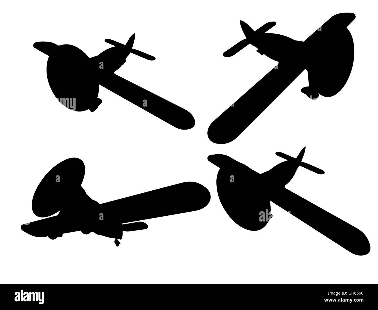 Vector isolated propeller plane set - Stock Image