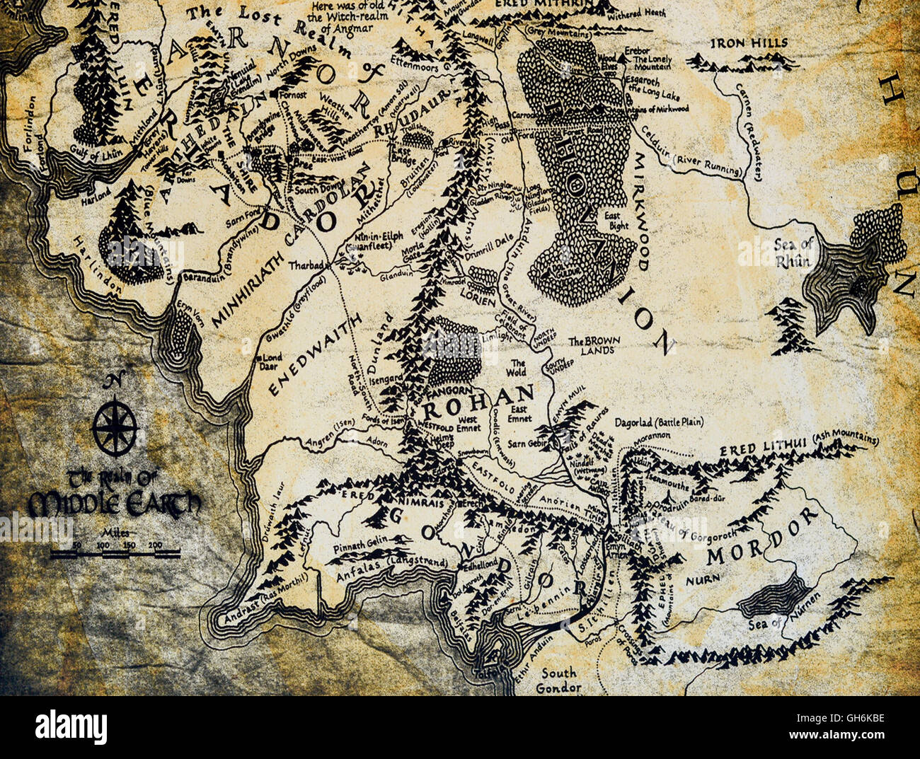 map of middle earth from the lord of the rings by jrr tolkien