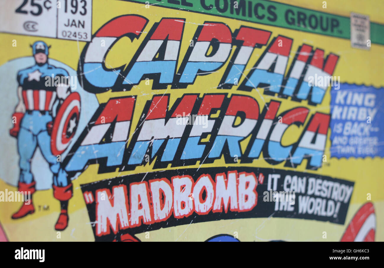 Captain America Retro Comic Cover, King Kirby is back. - Stock Image