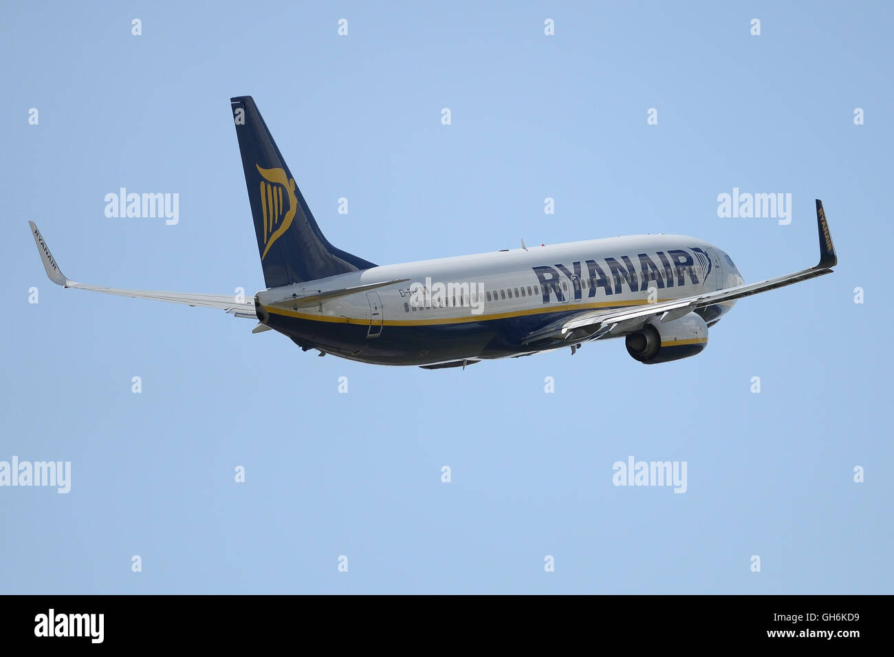 Ryanair plane takes off from East Midlands Airport in the UK - Stock Image