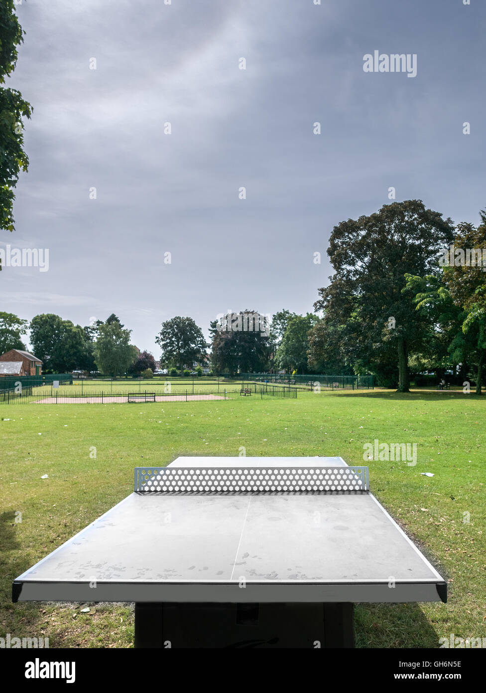 Sport facility at Abington park, the largest park in Northampton, England. - Stock Image