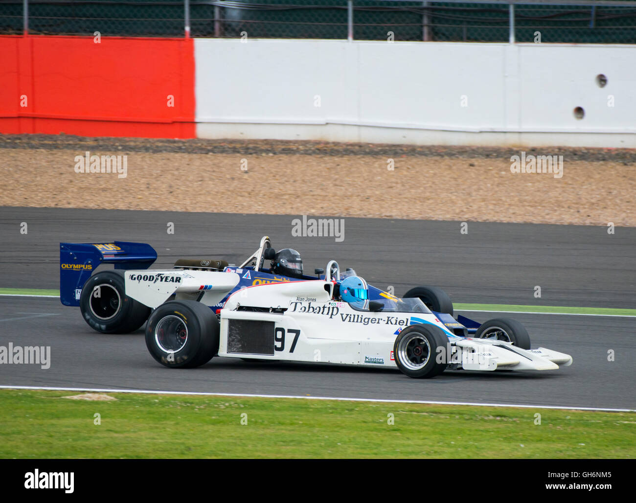 Jamie Constable, Shadow DN8, Michel Baudoin, Hesketh 308E, FIA Masters Historic Formula 1 race, 2016 Silverstone - Stock Image