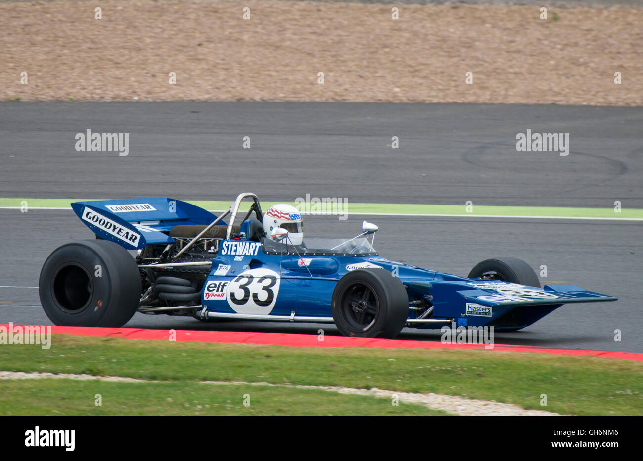 John Delane driving Tyrrell 001 in the FIA Masters Historic Formula 1 race at the 2016 Silverstone Classic event, - Stock Image